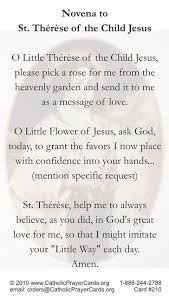 Prayer To St Therese The Little Flower - free catholic holy cards catholic prayer cards st therese of