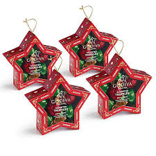 chocolate filled ornament set of 4 godiva