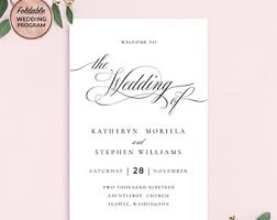 Wedding Booklet Templates Wedding Templates Etsy Sg