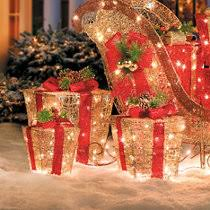 frosted lighted presents outdoor decorations set of 3