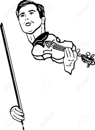 black and white sketch of a musician with violin royalty free