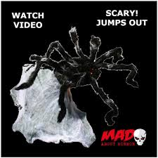 scary giant jumping spider animated halloween prop decoration