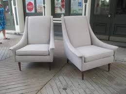Upright Armchairs Selig Pair Of High Back Upholstered Lounge Chairs At 1stdibs