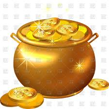 shiny golden pot filled with leprechaun coins vector clipart image