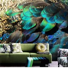 3d stereo custom southeast peacock feather wallpaper porch aisle