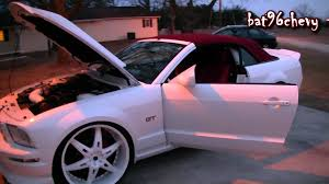 White Mustang Black Wheels White 07 Ford Mustang Gt On 24 U0027s New Red Top U0026 Red Seats 1080p