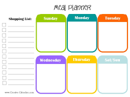 menu planners templates printable meal planners