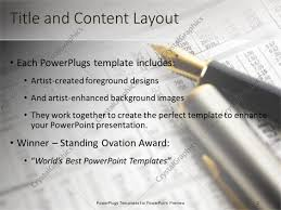 powerpoint template fountain pen lying on a financial newspaper