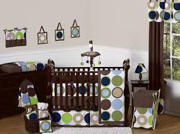 Brown Baby Crib Bedding Modern Polka Dot Circle Geometric Baby Crib Bedding Set 9pc Blue