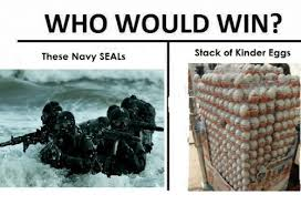 Navy Seal Meme - who would win stack of kinder eggs these navy seals navy meme