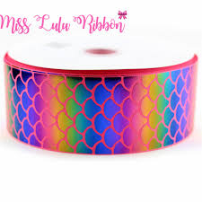 printed grosgrain ribbon 3 75mm glitter fish scales printed grosgrain ribbon sequins