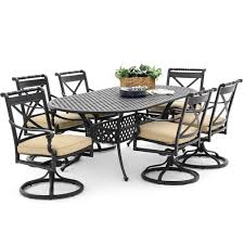 Aluminum Dining Room Chairs Carrolton 7 Piece Cast Aluminum Patio Dining Set With Swivel