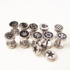 mens studs isayoe 2piece high quality stainless steel studs mens boy peace logo