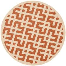 Round Indoor Outdoor Rug Safavieh Courtyard Terracotta Bone 6 Ft 7 In X 6 Ft 7 In