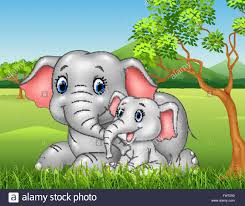 cartoon funny mother and baby elephant on jungle background stock