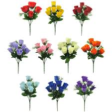 artificial flower artificial silk flowers bud bunch 10 colours wedding home
