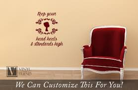 keep your head heels and standards high motivation quote a wall keep your head heels and standards high motivation quote a wall decor vinyl decal lettering graphic sticker with silhouette of woman 2417