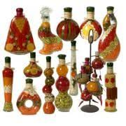 handmade decorative bottles with fruit and vegetables your