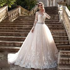 discount champagne lace long sleeve wedding dresses sheer illusion