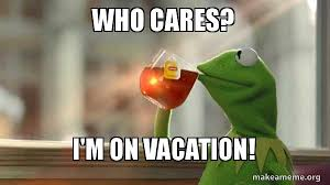 On Vacation Meme - who cares i m on vacation kermit drinking tea make a meme