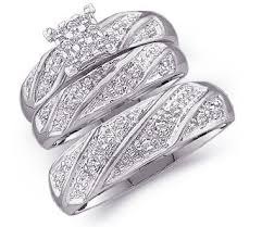 wedding ring sets his and hers white gold sizes l 4 m 10 14k white gold mens and
