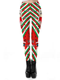 2018 Women Stripe Tribal Floral Christmas Leggings Pants In Red Xl