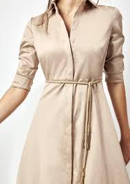 vestido camisero beige