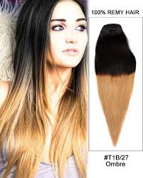 Light Brown Hair Extensions 7pcs Clip In Human Hair Extensions T1b Blonde Ombre Straight Hair