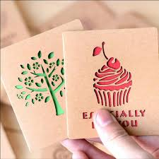 vintage wind card hollow out kraft paper card creative cute