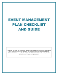 event management plan checklist and guide disclaimer this guide