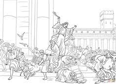 temple coloring page animals and money changers in the temple at jerusalem coloring