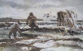 1978 wildfowler duck decoy hunting print by chet reneson