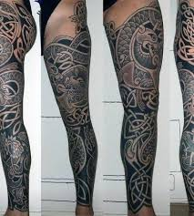 guys celtic inspired full leg sleeve tattoo designs tattoos