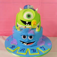 inc baby shower monsters inc baby shower cake shape two tiered bleu base