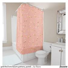 Pink And Grey Shower Curtain by Gold Foil Love Hearts Pattern Pastel Pink Stripes Shower Curtain