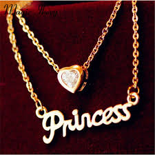 princess necklace with pendant images Magic ikery lovely heart pendant chain princess necklace rose gold jpg