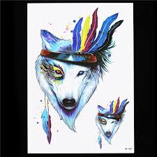 Wolf Indian Tattoos - waterproof temporary 1pc cool indian wolf feather decal