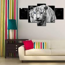 Modern Wall Art 5pcs Printed Tiger Painting Canvas Print Room Decor 7 66 Online