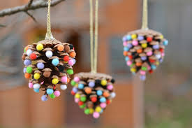 pom poms and pinecones ornaments