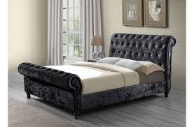 Velvet Sleigh Bed Chesterfield Velvet Sleigh Designer Bedstead Sleep