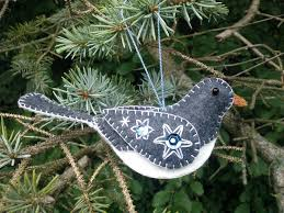 wool felt bird ornament wool junco ornament embroidered junco