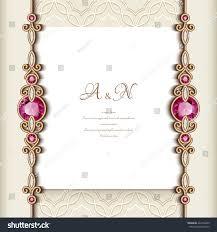 Ruby Anniversary Invitation Cards Elegant Greeting Card Diamond Jewelry Border Stock Vector
