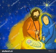 holy family christmas nativity illustration starry stock vector