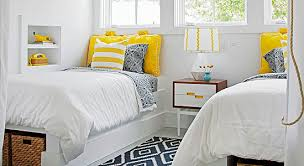 Navy And Yellow Bedding Remodelaholic Get This Look Sunny Shared Bedroom For Boys Or Girls