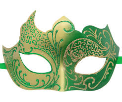 masquerade mask and green masquerade mask with glitter
