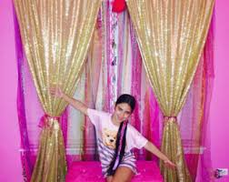 Pink Sparkle Curtains Gold Sparkle Curtain Etsy