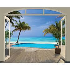 wall murals goingdecor brewster wt43565 walltastic by brewster wt43565 paradise beach wall mural