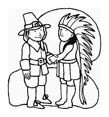Indian Thanksgiving A Pilgrim And Indian Chief Shaking Hand On Thanksgiving Day