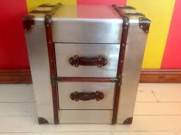 trunk style bedside tables nightstand metal chest of 2 drawers steamer trunk style in steamer