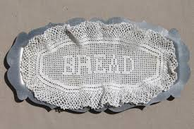 pewter serving platter pewter serving tray w vintage crochet lace bread plate doily